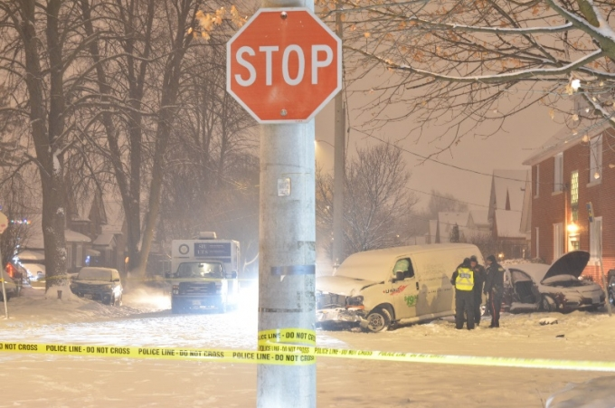 The scene was located at the intersection of Krug Street and Samuel Street in the City of Kitchener. The intersection is controlled by stop signs for traffic on Samuel Street.