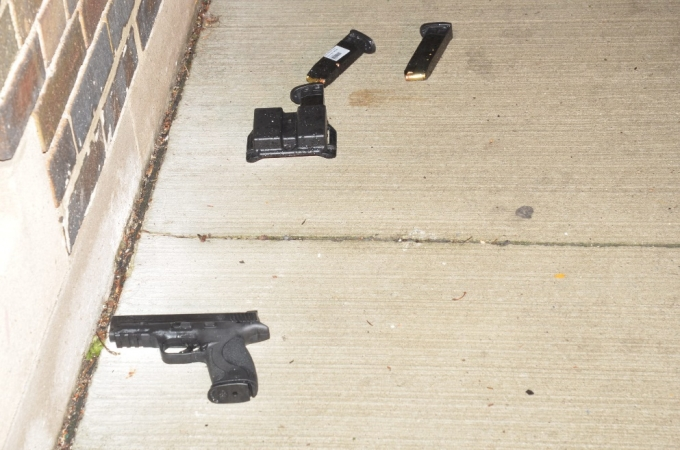The Smith and Wesson .40 calibre handgun with two full handgun magazines and a magazine holder, which were located against the wall of the Danforth Church and next to Mr. Hussain's body.
