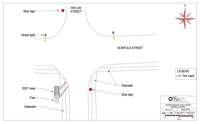 Scene diagram- The scene of the motor vehicle collision was in the area of the intersection of Norfolk Street and Taylor Street in the City of Stratford, with the Jeep coming into contact with a tree on Taylor Street in front of the residence on the corner.