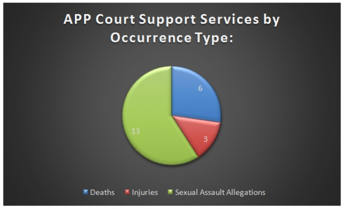 This pie chart demonstrates the amount of APC court support services provided by occurrence type in 2018. 6 of these services were for deaths, 3 were for injuries, and 13 were for sexual assault allegations.
