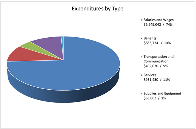 This pie chart shows expenditures by type. The total annual expenditures for the fiscal year ending March 31, 2020 were $8,830,139.07.