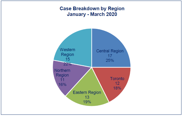 This pie chart shows a breakdown of cases by region. 11% of investigations were launched in the Northern region, 13% were launched in the Eastern region, 25% were in the Central region, 12% in the Toronto region and 22% in the Western region.