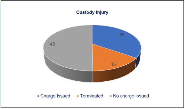 This pie chart shows the average number of days it took to close custody injury cases. 143 days spent with no charge issued, 99 days with charges issued and 43 days to terminate.