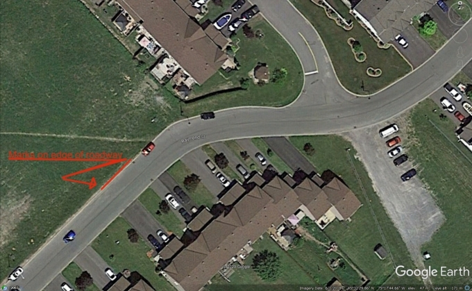 Figure 1 - Google Earth Pro image, edited to show where marks were found on the roadway..