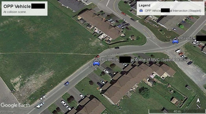 Figure 4 - This image is from Google Earth Pro and has been edited to depict OPP vehicle stopped at the scene of the single motor vehicle collision.